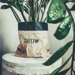 Ekologické vrecko na štýl kvetináča s kvetinou
