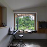 Miestnosť s veľkým oknom a el. klavírom