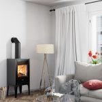 Kachlová pec na drevo v obývačke