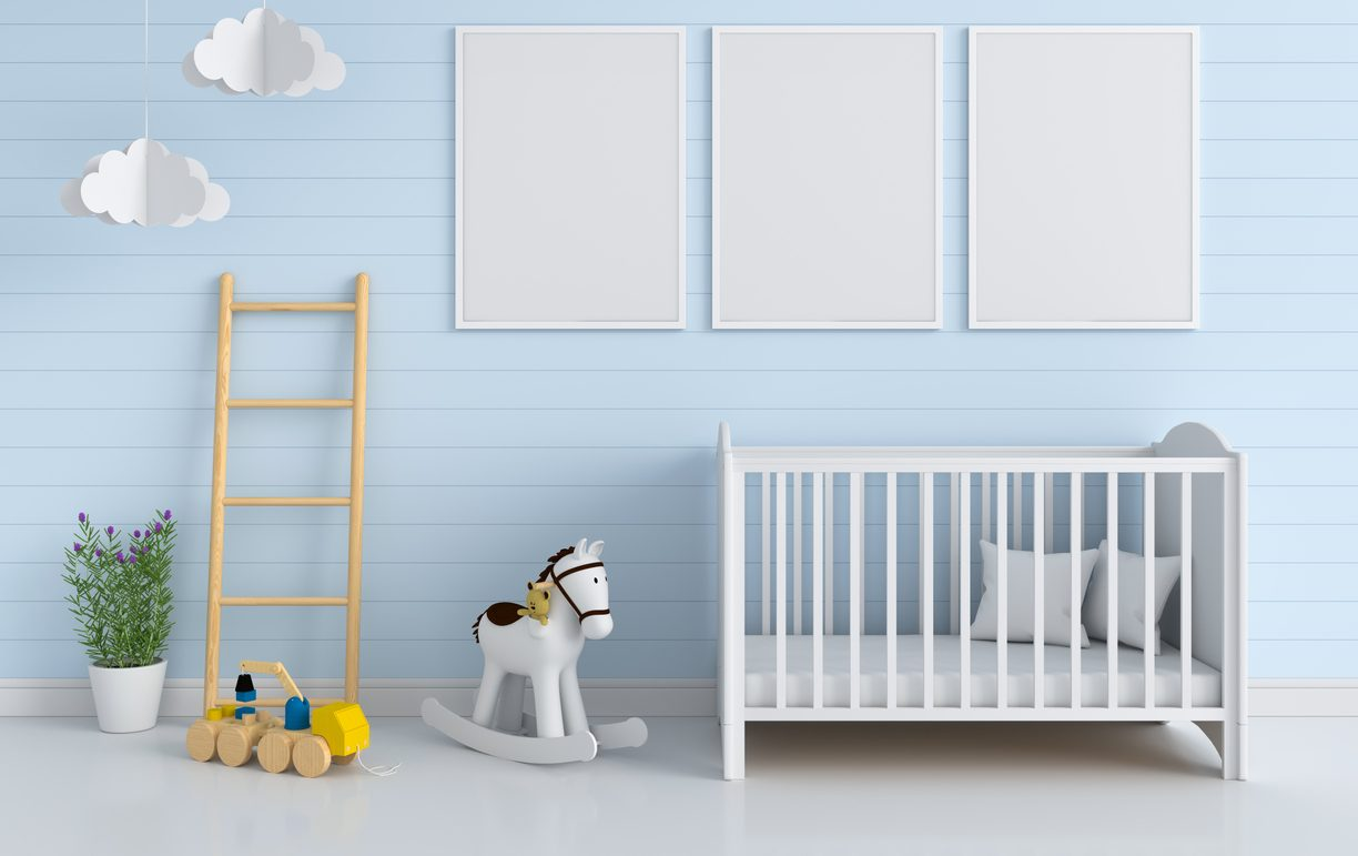 Three blank photo frame for mockup in child room