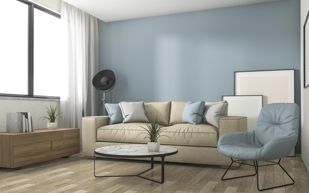 Nbesky modrá obývačka s gaučom